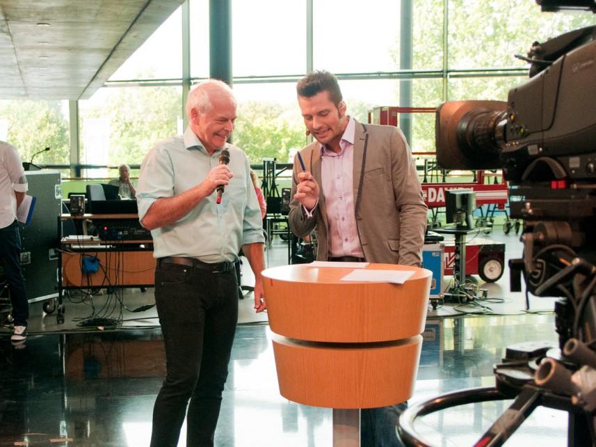 MDR-Wettermoderator Thomas Globig und Moderator Stefan Bernschein beim Funkhausfest