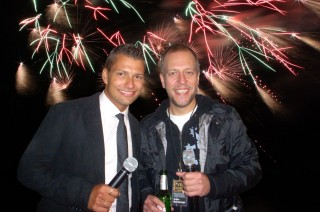 Moderator Stefan Bernschein mit Stargast Lotto King Karl