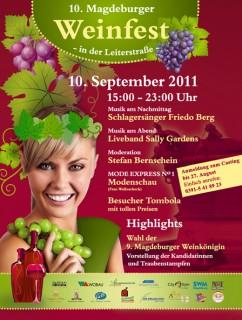 Flyer zum 10. Weinfest in der Leiterstraße Magdeburg